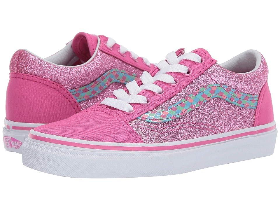 Vans Kids Old Skool (Little Kid/Big Kid) ((Mermaid Scales) Carmine Rose/True White) Girls Shoes