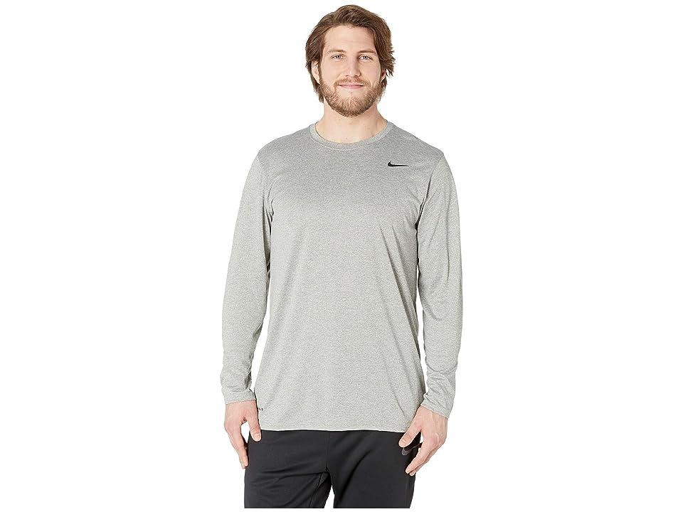 Nike Big Tall Dry Tee Long Sleeve Legend 2.0 (Dark Grey Heather/Black/Black) Men