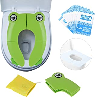 PITAYA Travel Portable Folding Potty Training Toilet Seat Cover, Non Slip Silicone Pads, Suitable for Kids Baby Boys and Girls (Green)