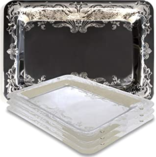 """Maro Megastore (Pack of 4 Rectangular Oblong Sturdy 304 Stainless Steel Serving Tray Victoria Design Floral Engraved Wedding Birthday Buffet Party Food Platter Plate 2437 (15.7"""" x 11"""")"""