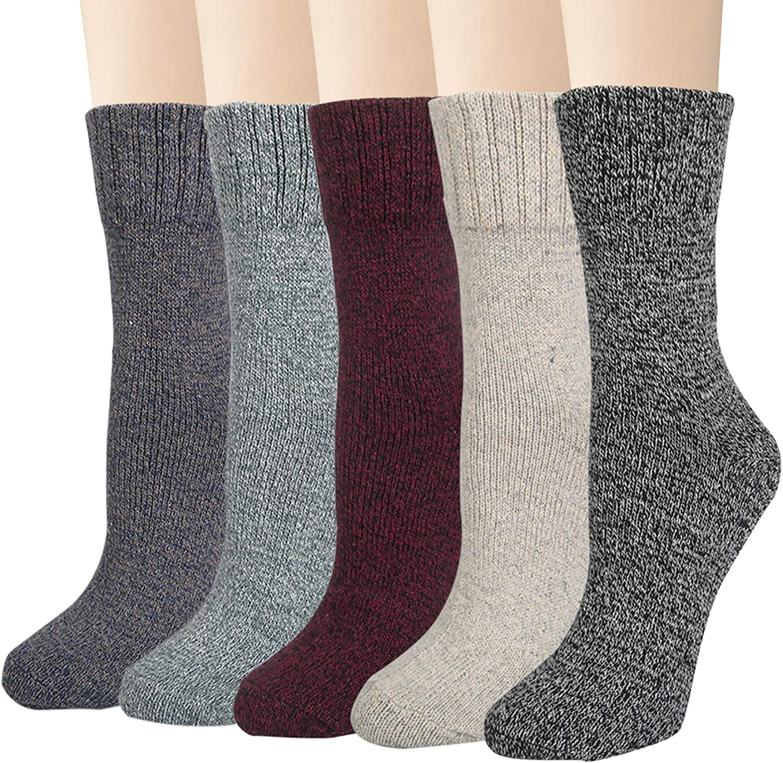 Justay 5 Pairs Winter Womens Wool Socks Vintage Warm Socks Thick Cozy Socks Knit Casual Crew Socks Gifts for Women