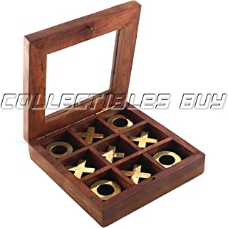 Retro Wooden Tic Tac Toe - Tick Tack Toe - Wooden Family Board Game Metal Noughts & Crosses Storage Box with Glass Lid -Unique Table/Desk/Floor/Indoor Game Mind Sharp Games Trap Technique