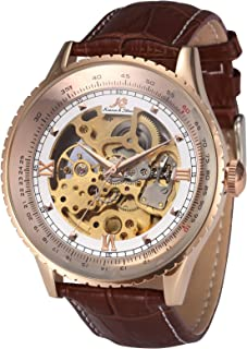 Ks Royal Carving Luxury Automatic Mechanical Skeleton Men's Leather Wrist Watch