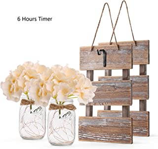 GBtroo Rustic Brown Mason Jar Sconces for Wall Decor, Decorative Chic Hanging House Decor Mason Jars with LED Strip Lights, 6-Hour Timer, Silk Hydrangea, Iron Hooks for Home & Kitchen Decorations