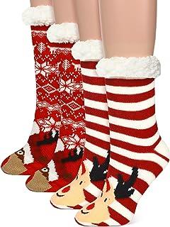 2 Pairs Christmas Slipper Socks for Women Girls Winter Warm Soft Christmas Socks Soft Fluffy Fleece Lining Socks with Grip...