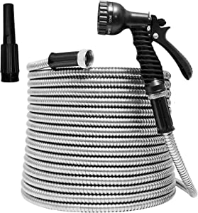 TUNHUI 50FT Heavy Duty Flexible Metal Garden Hose Stainless Steel Water Hose with 2 Free Nozzles Metal Hose Flexible Durable Kink Free and Easy to Store Outdoor Hose