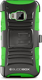 HTC One M9 Case, BUDDIBOX [HSeries] Heavy Duty Swivel Belt Clip Holster with Kickstand Maximal Protection Case for HTC One M9, (Geen)