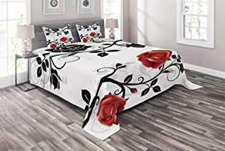 Lunarable English Garden Coverlet Set Queen Size, Abstract Backdrop Floral Rose Swirls Ivy with Leaves Spring, 3 Piece Decorative Quilted Bedspread Set with 2 Pillow Shams, Vermilion Grey