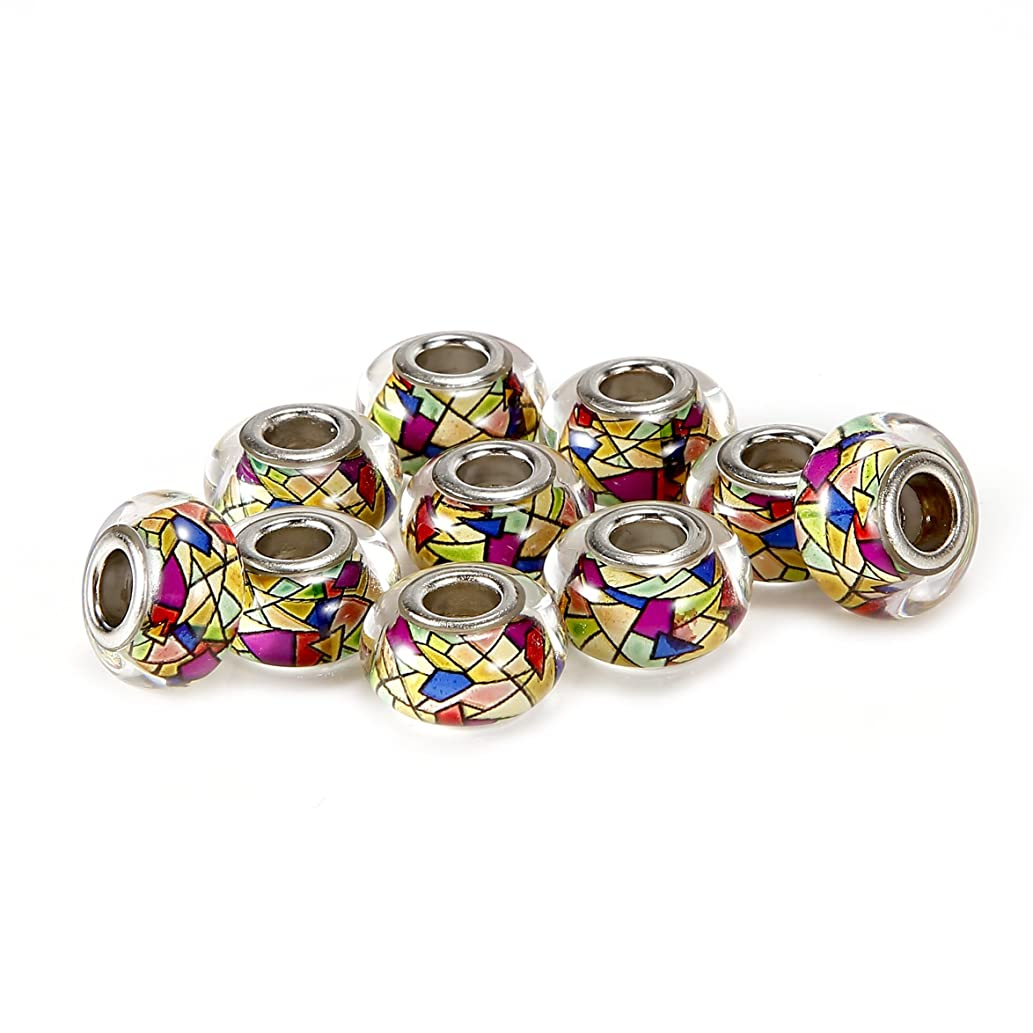 BRCbeads 10Pcs Silver Plate Colorful Style #2 Epoxy Enamel Murano Lampwork European Glass Crystal Charms Beads Spacers Fit Troll Chamilia Carlo Biagi Zable Snake Chain Bracelets.