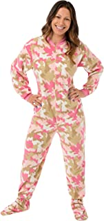 Pink Camouflage Fleece Women`s Footed Onesie Pajamas with Drop Seat