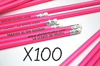 100 matite di legno con testo personalizzato, gruppo x100 matite personalizzabile, colore rosa regalo per gli ospiti