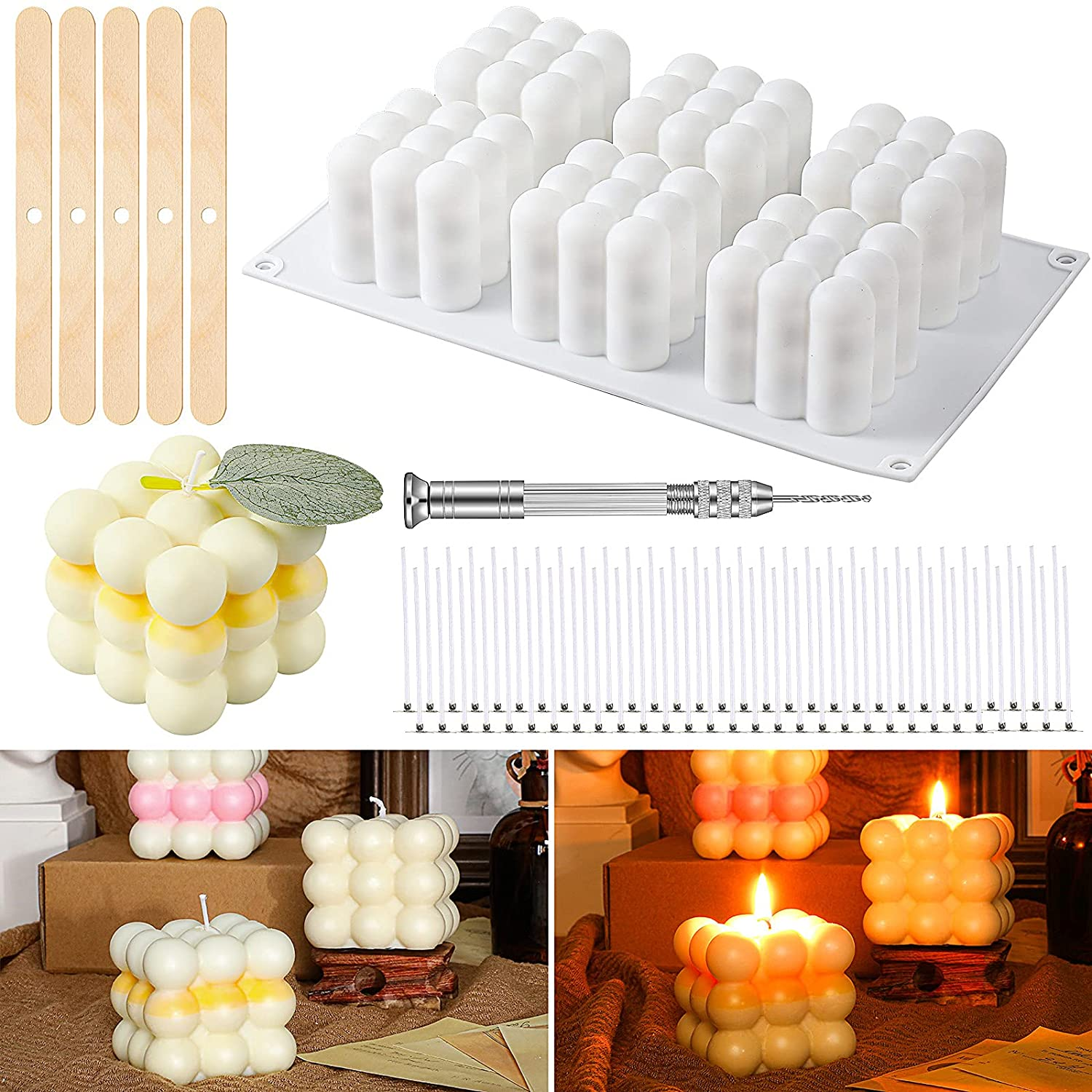 3D Candle Mold Handmade Candles Wicks Support 50 Kit with Limited time for free Bargain sale shipping