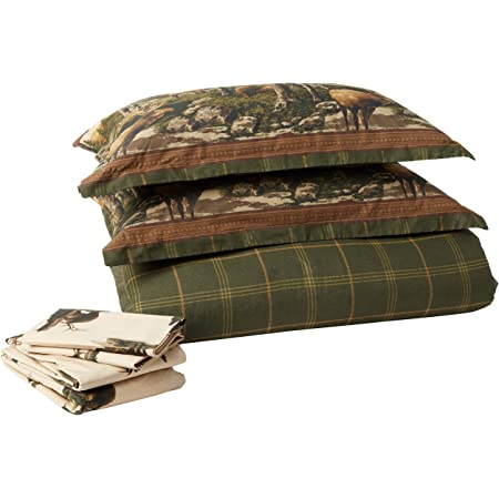 Blue Ridge Trading Rocky Mountain Elk Complete Bed Set, King, Green/Brown