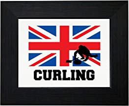 Royal Prints Great Britain Olympic - Curling - Flag - Silhouette Framed Print Poster Wall or Desk Mount Options
