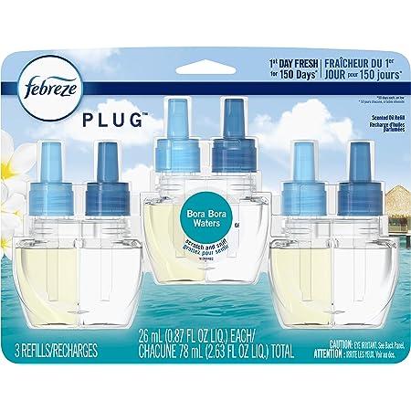 Febreze Plug in Air Fresheners, Bora Bora, Odor Eliminator, Scented Oil Refill, 3 Count