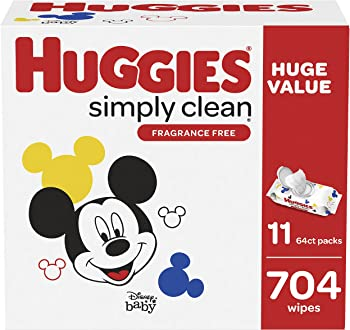 704-Count (64 x 11-Pack) Huggies Simply Clean Unscented Baby Wipes