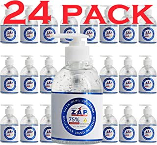 ZAP Hand Sanitizer Gel (24 Pack - 8 OZ Pump Bottle) 75% Ethyl Alcohol - Kills 99.9% of Germs With Moisturiz...