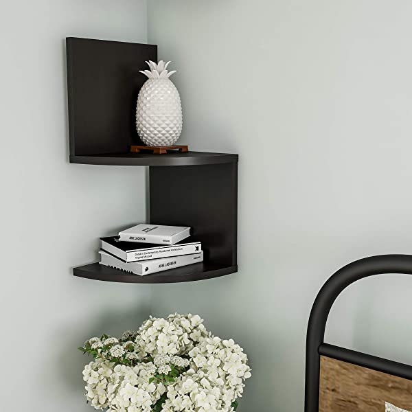 Lavish Home Floating Corner Shelf 2 Tier Wall Shelves With Hidden Brackets To Display Decor Books Photos More Hardware Included Black