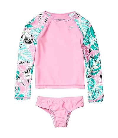 Speedo Kids Long Sleeve Print Rashguard Two-Piece (Little Kids) (Fuchsia Pink) Girl