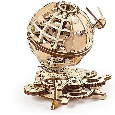 UGEARS Globe - Wooden Educational Puzzle, Self Assembling Mechanical 3D Model, DIY Brain Teaser