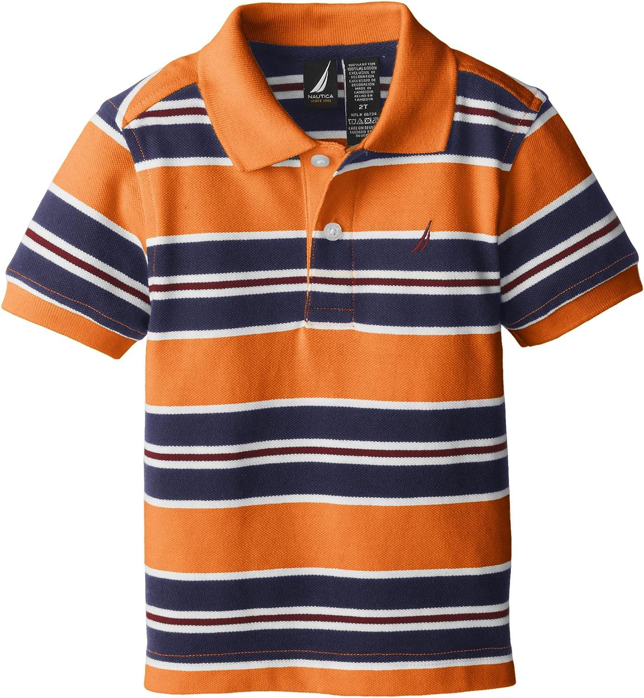Nautica Boys' Short Sleeve Stripe Pique Polo Shirt