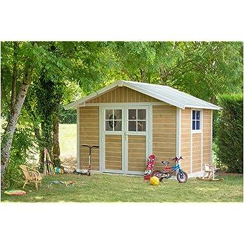 caseta cobertizo de resina jardin grosfillex deco7 7.53 m2 sherwood color marron: Amazon.es: Bricolaje y herramientas