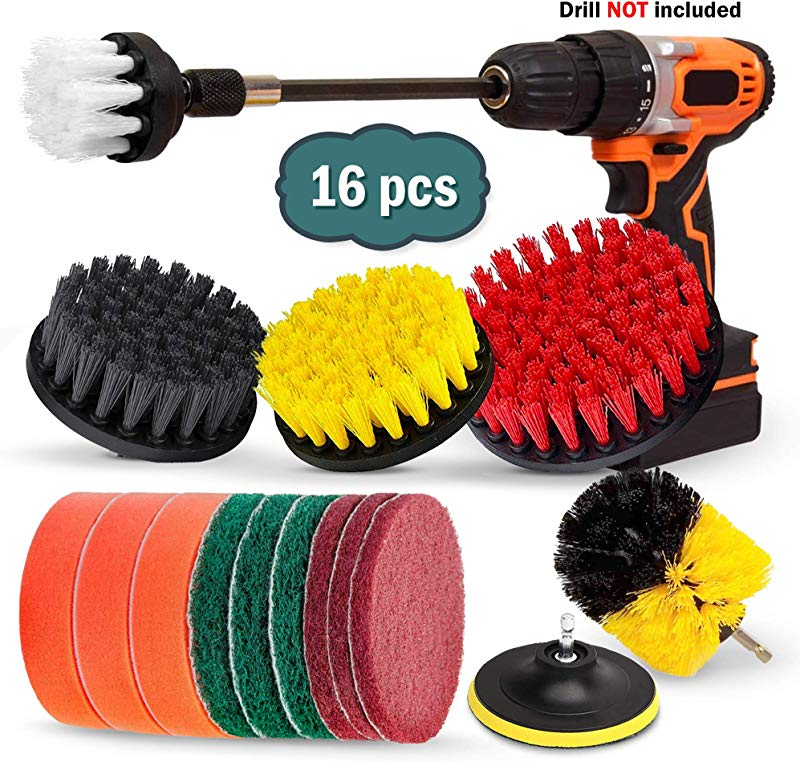 16 Piece Drill Brush Set Extend Long Attachment Scrub Pads Sponge Power Scrubber Cleaning Kit For Grout Tile Carpet Sink Bathtub Bathroom Shower Tub Kitchen Car Pool Boat By Buddy Pro