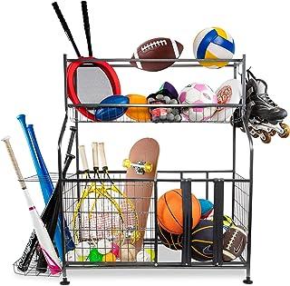 RaxGo Garage Sports Organizer, Ball Storage Rack, Equipment Storage System for Balls, Bats, Rackets, Helmets, Toy's & Other Sports Gear, Heavy-Duty Steel, Hanging Hooks & Adjustable Support Feet