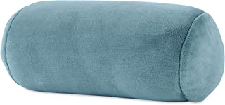 Berkshire Blanket Serasoft Plush Neckroll Removable Easy to Wash Cover Throw Pillow, Blue Stencil