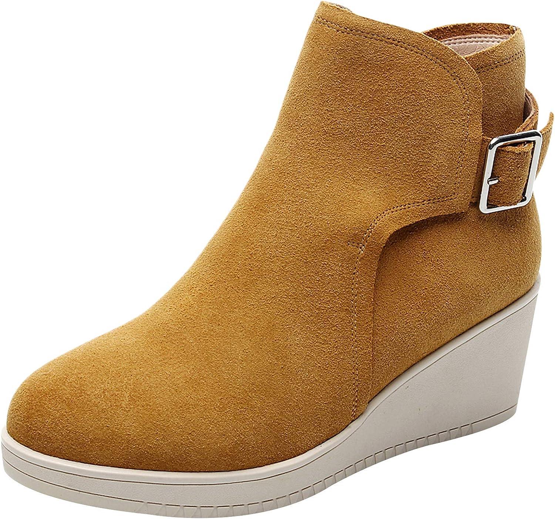 Rismart Women's Casual Booties Wedges Zipper Ankle High Boots