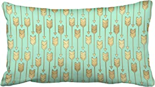 Musesh accent boho mint and faux gold arrows pattern decorative Cushions Case Throw Pillow Cover For Sofa Home Decorative Pillowslip Gift Ideas Household Pillowcase Zippered Pillow Covers 20X36Inch