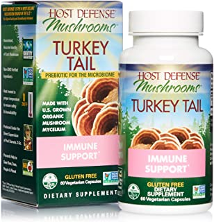 Host Defense, Turkey Tail, 60 Capsules, Natural Immune System and Digestive Support, Daily Mushroom Mycelium Supplement, U...