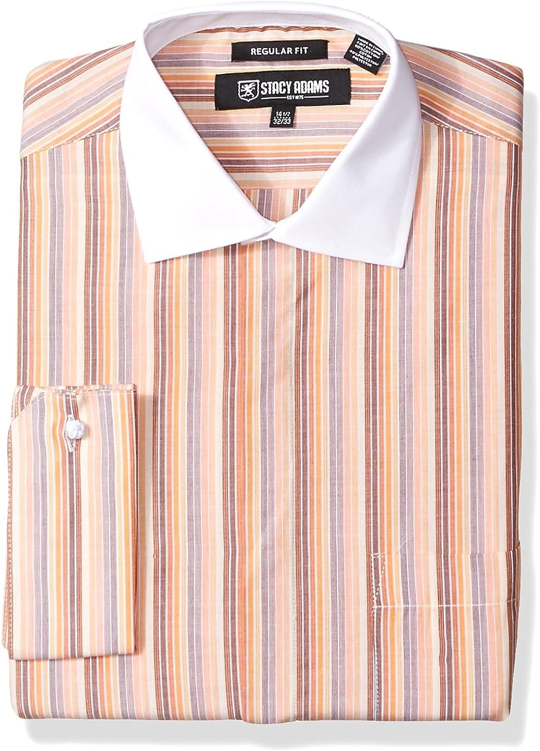 STACY ADAMS Men's Mulit Stripe Classic Fit Dress Shirt