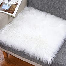 Noahas Faux Fur Sheepskin Silky Seat Cushion, Home Decor Long Wool Area Rugs Carpet, Soft Fluffy Plush Chair Seat Pads Uni...