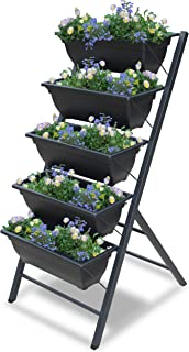 Vertical Garden Planter - 3 3/4 feet high 5 Tiered Raised Garden Box - Indoor or Outdoor planters for Flowers, herb, Vegetables or Seeds