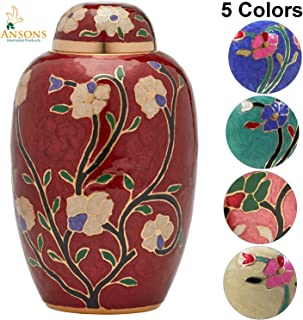 Ansons Urns Cremation Urn - Flower Funeral Urn for Human Ashes - Burial urn with Lacquer Finish - 100% Brass - Flora Red