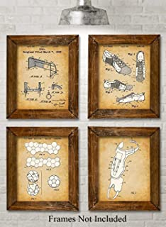 Original Soccer Patent Prints - Set of Four Photos (8x10) Unframed - Makes a Great Gift Under $20 for Soccer Players or Soccer Fans