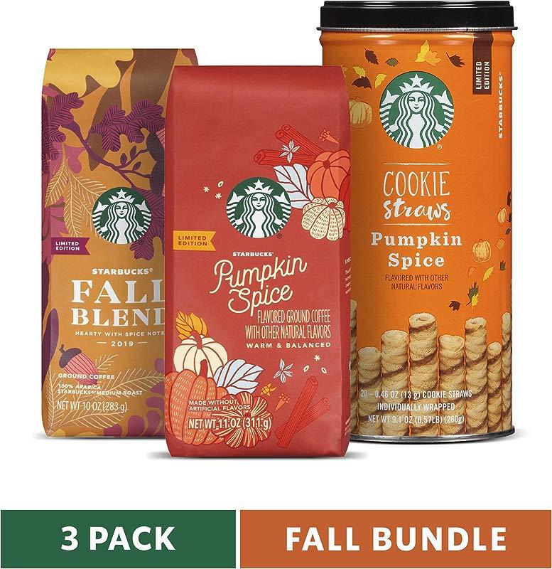 Starbucks Fall Bundle 10 Oz Fall Blend Medium Roast Ground Coffee 11 Oz Pumpkin Spice Flavored Ground Coffee And 20 Pumpkin Spice Cookie Straws Limited Edition