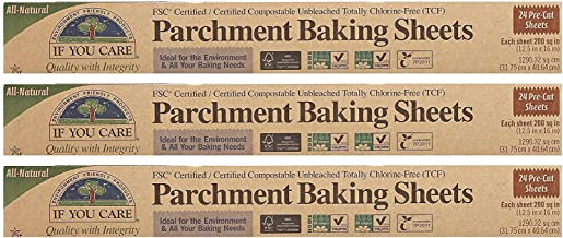 If You Care, Parchment Baking Sheets, 24 Count (Three Pack)