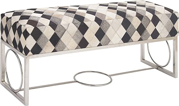 Deco 79 95041 48 20 Stainless Steel And Leather Grey Patch Bench Silver Black White Gray