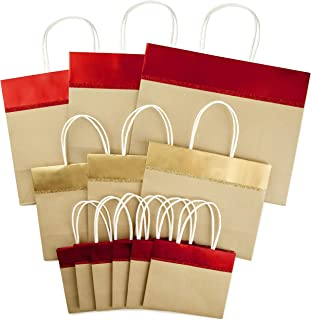 Hallmark Christmas Wide Gift Bag Assortment, Red and Gold Foil, Kraft Paper (Pack of 12; 10