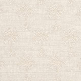 A077 Beige Tropical Textured Palm Trees Upholstery Fabric by The Yard