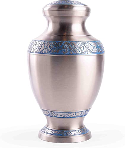 lowest GSM online sale Brands Cremation Urn for Adult Human Ashes - Large Handcrafted Funeral Memorial with Elegant Silver Design (Brass - 12 Inch Height x 7 online Inch Width) outlet online sale