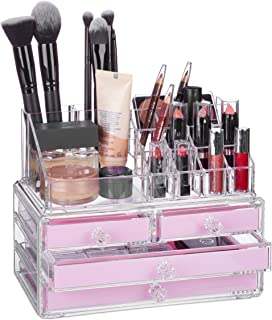 Relaxdays 10023130_52 Organisateur cosmétiques 2 Parties boîte Rangement Maquillage Make up 12 Porte-Crayons, Rose, Acryli...