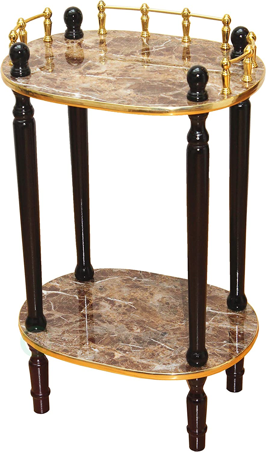 Uniquewise 2-Tiered Telephone Table, gold Marble and Cherry Finish (gold Marble)