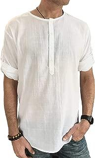 Men's Casual Summer 100% Cotton Shirt Hippie Beach Top