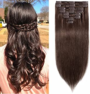 Standard Weft 8 Inch 65g Clip in 100% Real Remy Human Hair Extensions 8 Pieces 18 Clips #4 Medium Brown