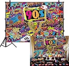 Allenjoy 7x5' Fabric 90s House Party Backdrop for Hip Hop Rock Punk Music Dance Disco Retro Adult Birthday Colorful Graffti Brick Wall Event Banner Decorations Photo Booth Shoot Photography Background