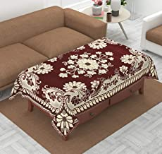 Luxury Crafts Luxurious Attractive Design Chenille 4 Seater Centre Table Cover (40x60 inches) (Maroon)