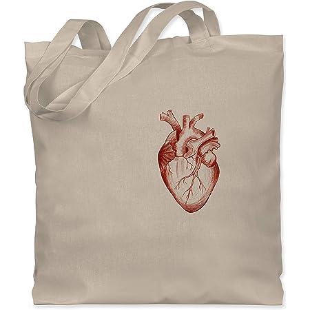 Shirtracer - Nerd Geschenke - Herz Anatomie - Stoffbeutel aus Baumwolle Jutebeutel lange Henkel